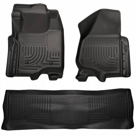 Husky Liners - Husky Liners 11-12 Ford SD Crew Cab WeatherBeater Combo Black Floor Liners (w/o Manual Trans Case)