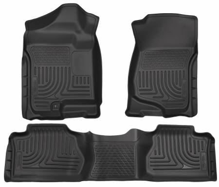 Husky Liners - Husky Liners 07-12 Chevy Silverado/GMC Sierra Extended Cab WeatherBeater Combo Black Floor Liners