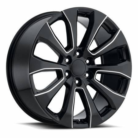 Factory Reproductions Wheels - FR Series 92 Replica Silverado Split Wheel 22x9 6X5.5 ET28 78.1CB Gloss Black Ball Milled