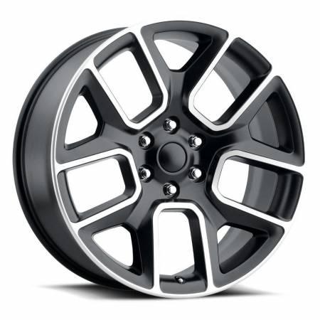 Factory Reproductions Wheels - FR Series 76 Replica Ram 1500 Wheel 22X9 6X5.5 ET15 77.8CB Satin Black Machine Face