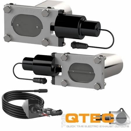 QTP (Quick Time Performance) - QTP Bolt-On QTEC Dual Low Profile Oval Electric Cutout Valves - Pair