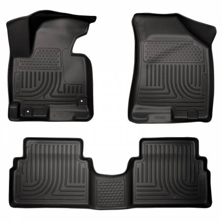 Husky Liners - Husky Liners 14 Hyundai Tucson w/Retain Hooks WeatherBeater Combo Front & 2nd Row Black Floor Liners