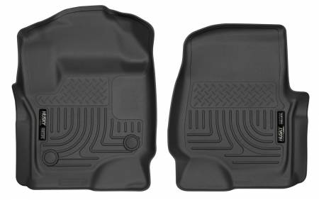 Husky Liners - Husky Liners 2017 Ford Super Duty (Crew Cab / Super Cab) WeatherBeater Black Front Floor Liners