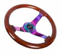 "NRG Innovations - NRG Innovations Reinforced Steering Wheel - Classic Dark Wood Grain Wheel (3"" Deep, 4mm ), 350mm, 3 Solid spoke center in Neochrome - Image 2"