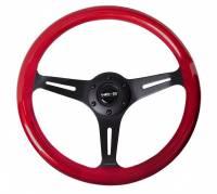 NRG Innovations - NRG Innovations Classic Wood Grain Wheel, 350mm 3 black spokes, red pearl/flake paint - Image 1