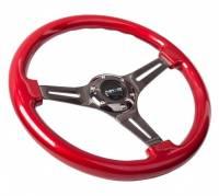 NRG Innovations - NRG Innovations Classic Wood Grain Wheel, 350mm 3 black spokes, red pearl/flake paint - Image 2