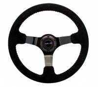 NRG Innovations - NRG Innovations Reinforced Steering Wheel - 350mm sport steering wheel (3' deep) black Suede with red baseball stitching - BLACK spoke - Image 1