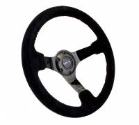 NRG Innovations - NRG Innovations Reinforced Steering Wheel - 350mm sport steering wheel (3' deep) black Suede with red baseball stitching - BLACK spoke - Image 2
