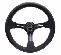 "NRG Innovations - NRG Innovations Reinforced Steering Wheel 350mm Sport Steering Wheel (3"" Deep) Black Leather with Red Stitching - Image 1"