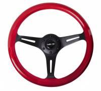 NRG Innovations - NRG Innovations Classic Wood Grain Wheel, 350mm 3 black spokes, red pearl/flake paint - Image 1