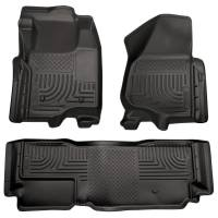 Husky Liners - Husky Liners 11-12 Ford SD Super Cab WeatherBeater Combo Black Floor Liners (w/o Manual Trans Case) - Image 1