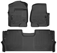 Husky Liners - Husky Liners 17-19 Ford F250 Super Duty CC w/Storage Box Front & 2nd Seat Weatherbeater Floor Liners - Image 1
