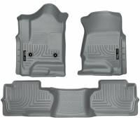 Husky Liners - Husky Liners 14 Chevrolet Silverado/GMC Sierra Dbl Cab WeatherBeater Grey Front&2nd Seat Floor Liner - Image 1
