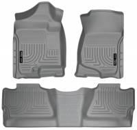 Husky Liners - Husky Liners 07-12 Chevy Silverado/GMC Sierra Crew Cab WeatherBeater Combo Gray Floor Liners - Image 1