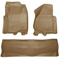 Husky Liners - Husky Liners 11-12 Ford SD Crew Cab WeatherBeater Combo Tan Floor Liners (w/o Manual Trans Case) - Image 1