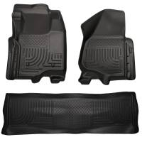 Husky Liners - Husky Liners 11-12 Ford SD Crew Cab WeatherBeater Combo Black Floor Liners (w/o Manual Trans Case) - Image 1